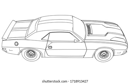 Sport car in outline. Sport vehicle template vector isolated on white.