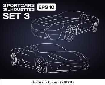 Sport car Silhouettes Set 3