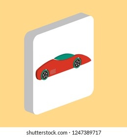 Sport Car Simple vector icon. Illustration symbol design template for web mobile UI element. Perfect color isometric pictogram on 3d white square. Sport Car icons for you business project