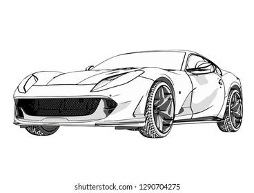 sport car sketch with shadows vector