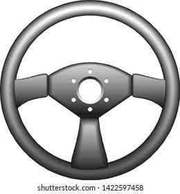 Sport Car Steering Wheel on white. vector illustration eps 10