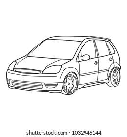 Sport car. Vector doodle illustration