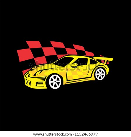 Sport Car Yellow Racing Flag Background Stock Vector Royalty Free
