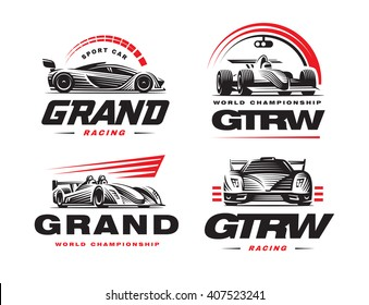 Sport cars logo set illustration on white background.