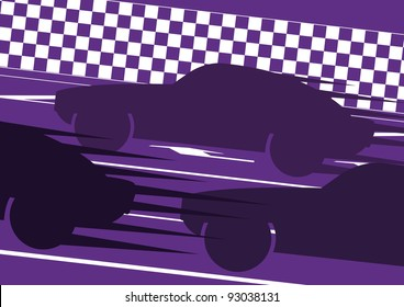 Sport cars silhouettes in race track landscape background illustration vector