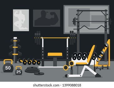 Sport center Free weights zone concept. Gym of fitness center interior design in flat style with barbell, plates, bench, kettlebell, power racks etc Vector Gym Equipment for powerlifting