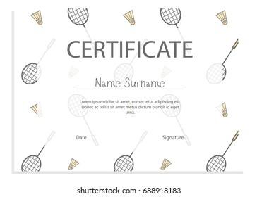 Sport certificate tennis pattern stock vector 2018 688918213 sport certificate with badminton pattern yadclub Gallery