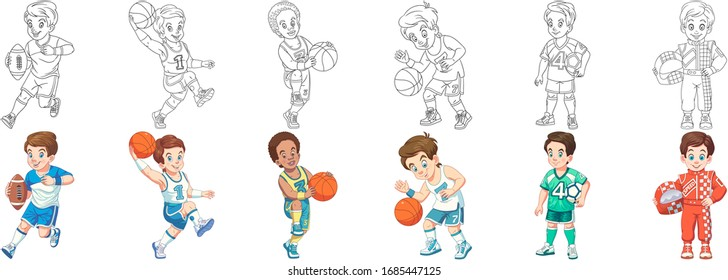 Sport children. Cartoon clipart set for kids activity coloring book, t shirt print, icon, logo, label, patch or sticker. Vector illustration.