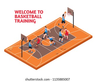 Sport club facility fields isometric advertisement poster with basketball players shooting scoring court domination training vector illustration