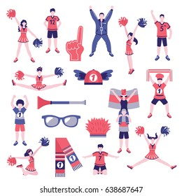 Sport club fans buffs cheerleaders supporters outfits clothing and accessoires flat icons collection isolated vector illustration