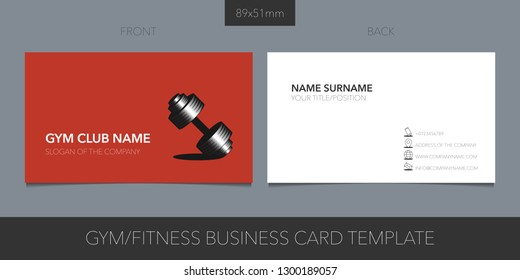 Sport club, gym vector layout of business card with logo, icon and template corporate details. Creative fitness design element for presentation of the company