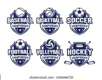 Sport club logo set template vector illustration