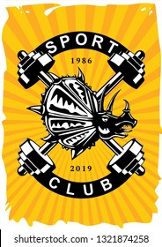 Sport club vintage poster with dumbell. Retro gym emblem with dynosaur. Vector style t-shirt print.