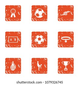 Sport clubhouse icons set. Grunge set of 9 sport clubhouse vector icons for web isolated on white background