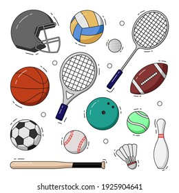 Sport collection with coloring. sport vector illustration