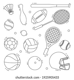 Sport collection without color. sport vector illustration