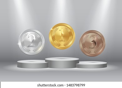 Sport competition medals 3d realistic illustration. Golden, silver, bronze awards for first, second, third place. Championship winner's trophies with decorative olive branch on grey background