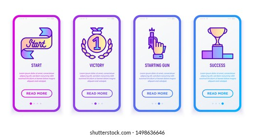 Sport competition user mobile interface. Thin line icons: start, starting gun, medal, success, trophy. Modern vector illustration.