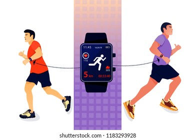 Sport concept with fitness tracker and running mans. Mans running with smart watch. Vector flat illustration.