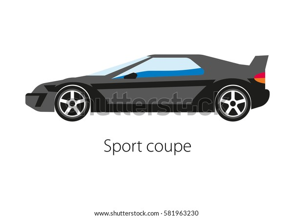 Sport coupe car isolated on white. Modern detailed automobile in flat style design. Sport luxury auto model in black color. Powerful sport car two seater, two door auto design vector illustration