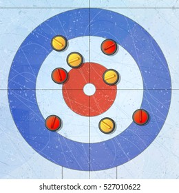 Sport. Curling stones on ice. Curling House. Playground for curling sport game vector illustration.