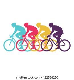 Sport cyclist silhouette vector modern design