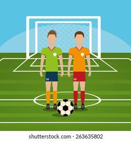 Sport design over blue background, vector illustration.