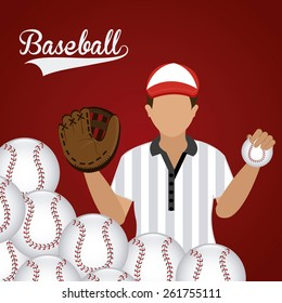 Sport design over red background, vector illustration.