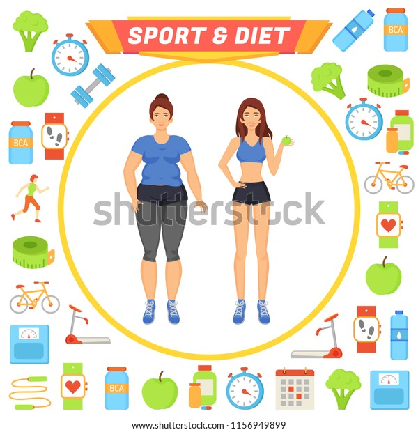 Sport Diet Icons Set Lady Vector Stock Vector (Royalty Free
