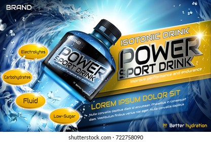 Sport drink ads, closeup look at plastic bottle and splatter waters in 3d illustration