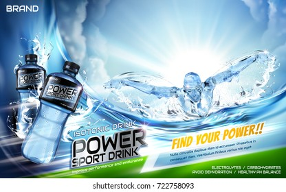 Sport drink ads, energetic athlete swimming butterfly stroke with splatters and plastic bottle in 3d illustration