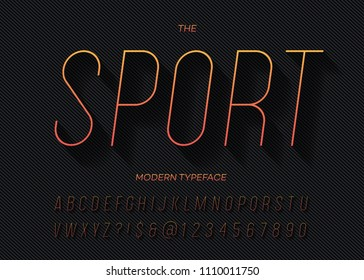 Sport dynamic slanted alphabet thin gradient color style. Modern typeface trendy typography for party poster, printing on fabric, t shirt, promotion, decoration, stamp, label. Cool font. Vector 10 eps