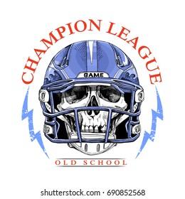 Sport emblem. Skull in a blue American Football Helmet. Vector illustration.