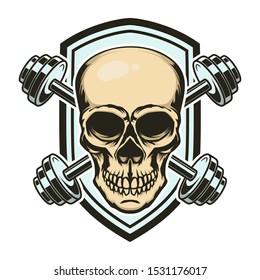 Sport emblem with skull and crossed barbells. Design element for logo, label, sign. Vector illustration