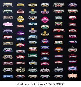 Sport emblem typography set. Super logo for your t-shirt. Mega logotype collection.
