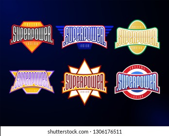 Sport emblem typography set. Super power hero logotype sticker for your t-shirt. Mega collection.