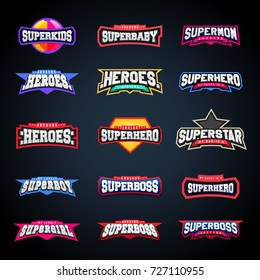 Sport emblem typography set. Super logo for your t-shirt. Mega logotype collection