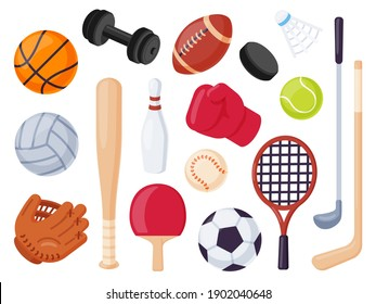Sport equipment. Cartoon balls and gaming item for hockey, rugby, baseball and tennis racket. Bowling, boxing and golf flat icons vector set. Illustration recreation ball for soccer and tennis