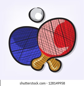 Sport Equipment Cartoon Set Ping Pong