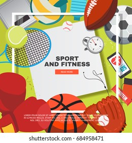 Sport equipment concept with competitive games accessories. Football, basketball, boxing, tennis, baseball, rugby, voleyball vector illustration. Creative sport and fitness frame.