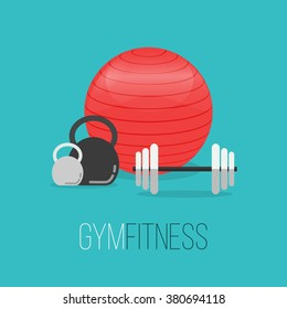Sport equipment flat banner template. Gym training, bodybuilding, healthy and active lifestyle, fitness elements. Fitness gym club vector flyer. Athlete tools. Sport logo