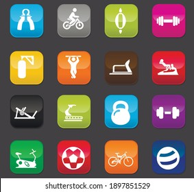 Sport equipment icons set for your design. Colored buttons on a dark background