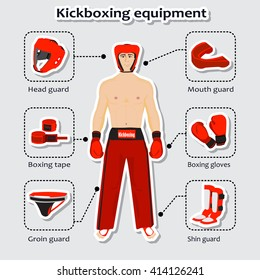 Sport equipment for kickboxing martial arts with sportsman