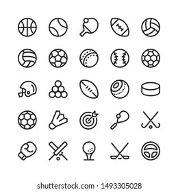 Sport Equipment Related Vector Line Icons. 32x32 pixel perfect.