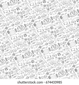 Sport equipment.Hand drawn doodles pattern background.Vector illustration. Fitness and sport sign and symbol elements. Healty kit