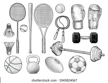 Sport equipments illustration, drawing, engraving, ink, line art, vector