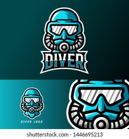 ∂iver sport or esport gaming mascot logo template, for your team, business, and personal branding