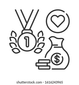 Sport event line black icon. Sponsorship. Medal and bag money vector pictogram. Charity and volunteering symbol. Button for web page, mobile app. UI UX user interface. Editable stroke.