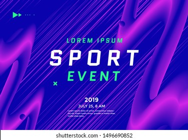 Sport Event poster design with dynamic gradients lines and shapes. Motion speed vector background in duotone color