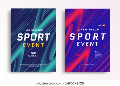 Sport event poster layout design template. Cover for Fitness center with duotone colored angled lines. Vector illustration